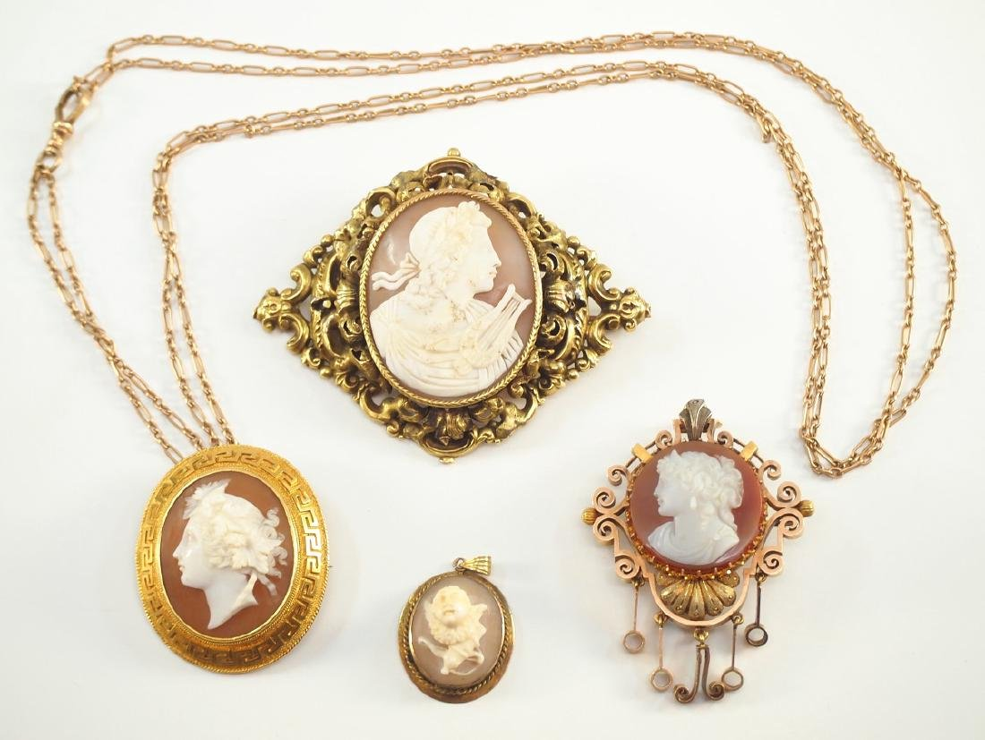 4 Victorian Cameo Brooches & Pendants
