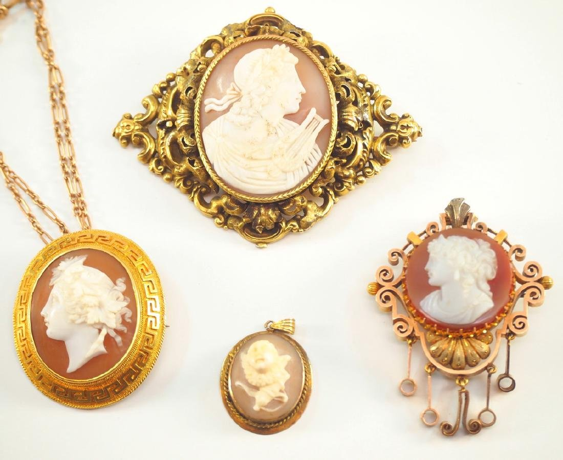 4 Victorian Cameo Brooches & Pendants - 2