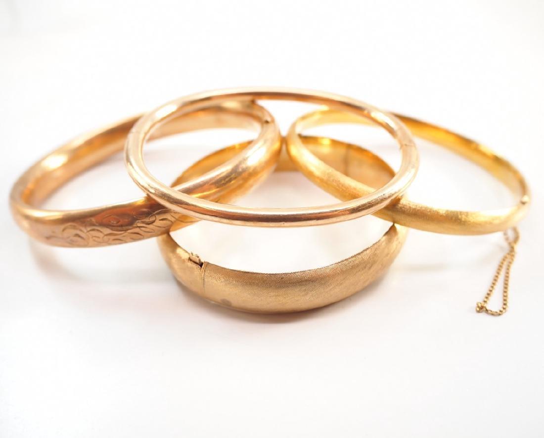 3 14 kt Yellow Gold Hinged Bangle Bracelets