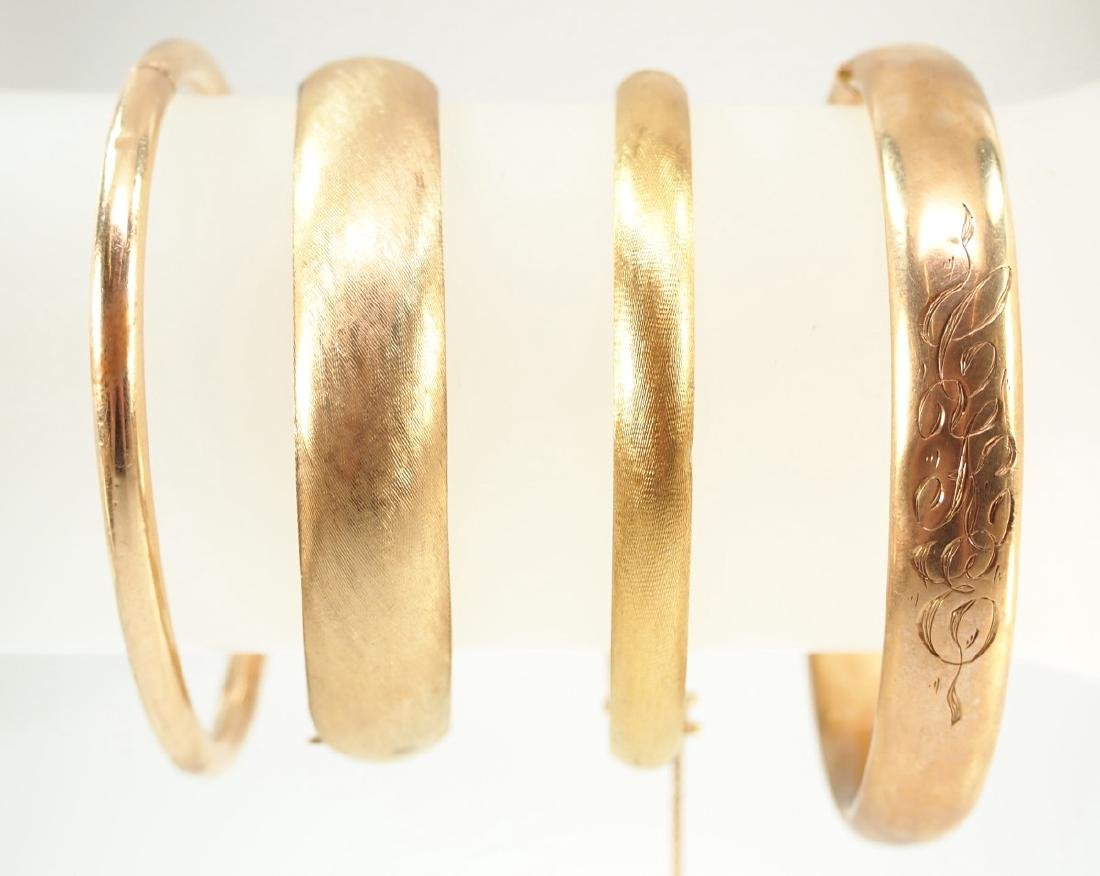 3 14 kt Yellow Gold Hinged Bangle Bracelets - 2