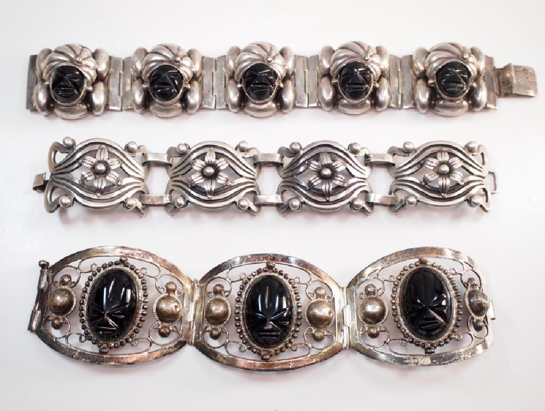 3 Mexican silver bracelets