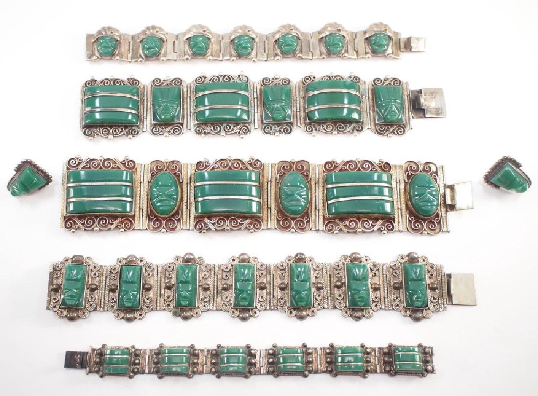 7 pcs of Mexican Silver & Onyx Jewelry