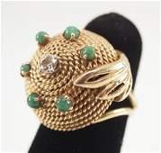 18 kt Gold Emerald  Diamond Ring