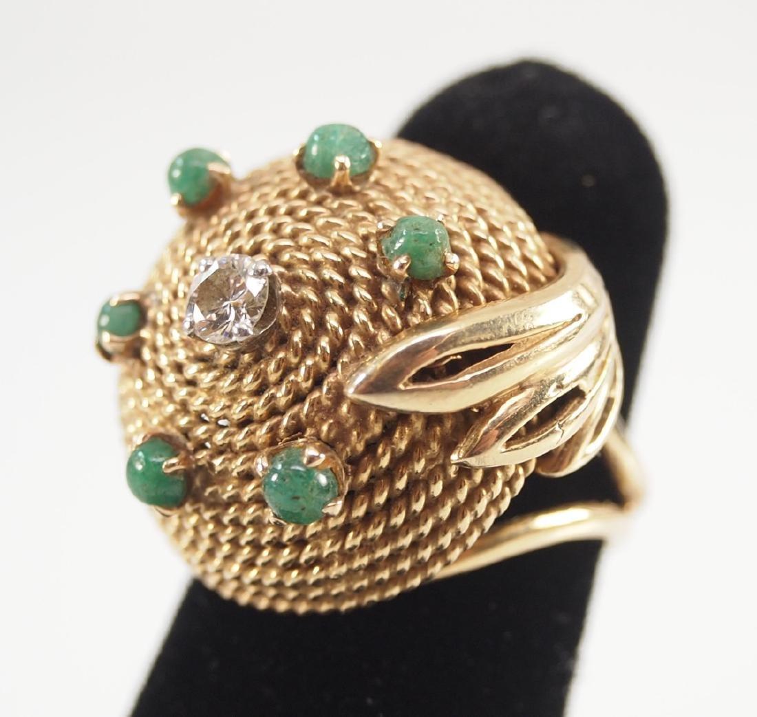 18 kt Gold, Emerald & Diamond Ring