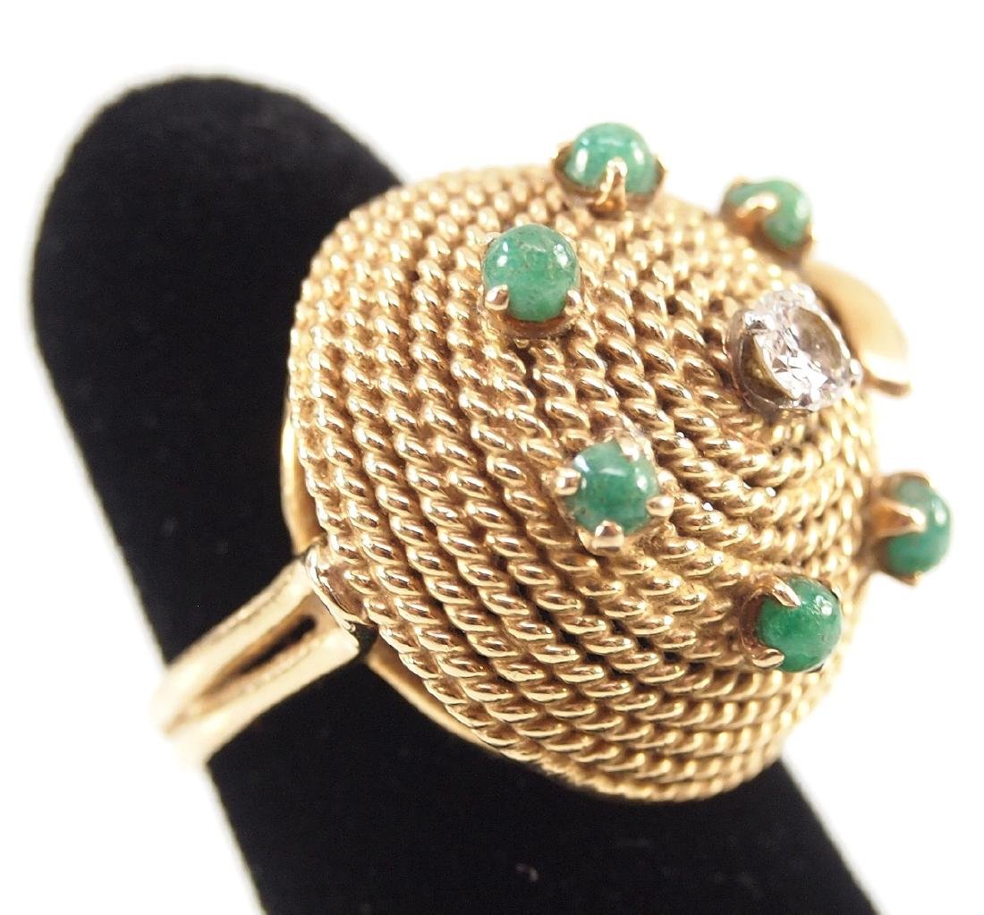18 kt Gold, Emerald & Diamond Ring - 2