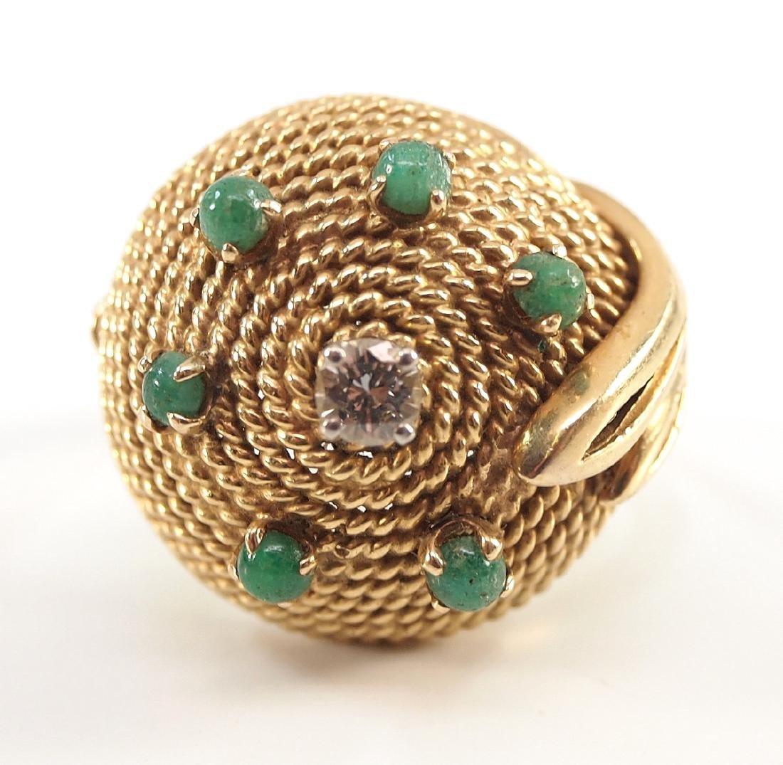 18 kt Gold, Emerald & Diamond Ring - 3