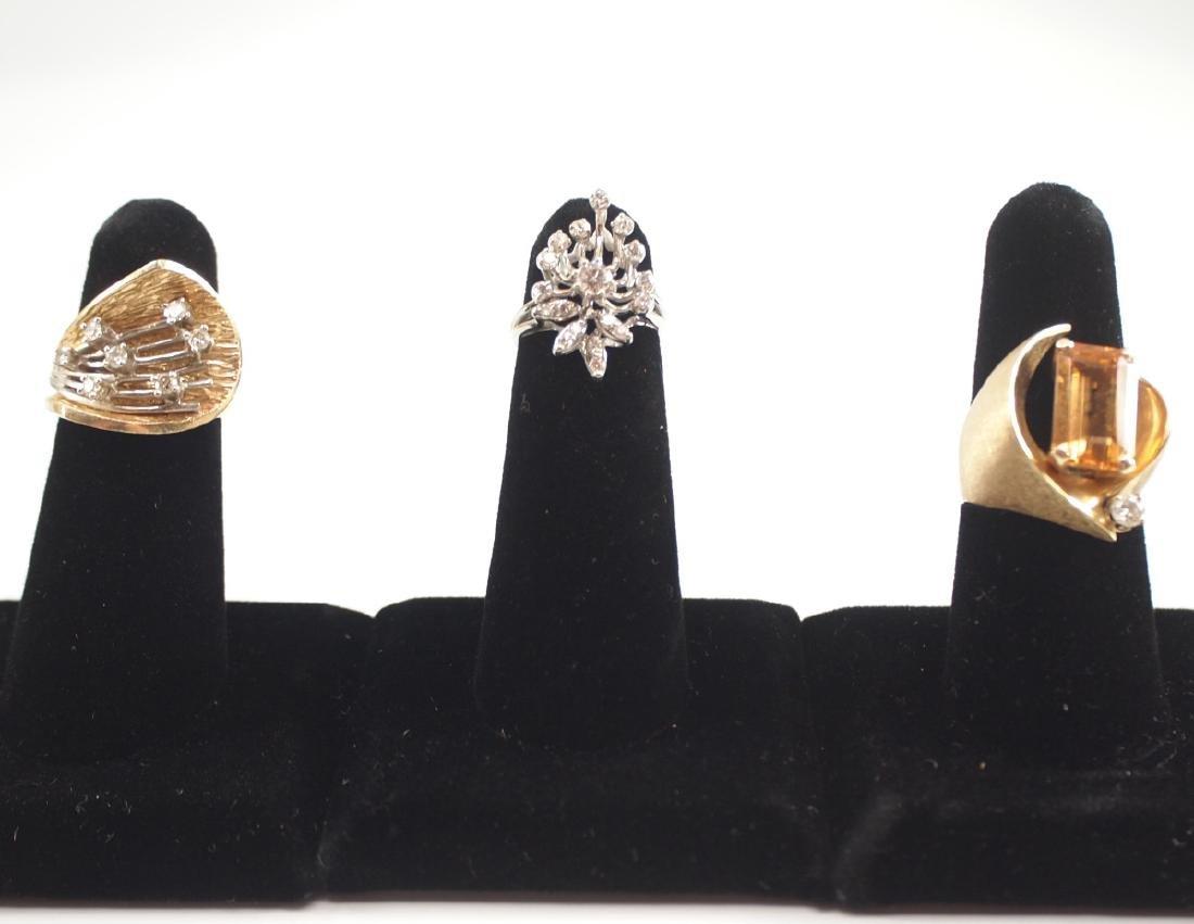 3 14 kt Gold Rings w/Diamonds & Topaz