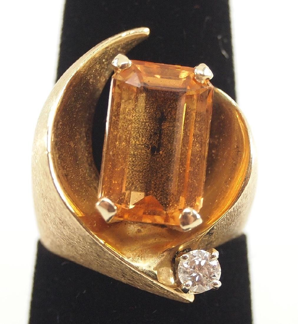 3 14 kt Gold Rings w/Diamonds & Topaz - 4