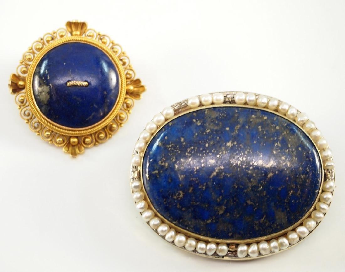 2 Vintage Yellow Gold & Lapis Lazuli Brooches