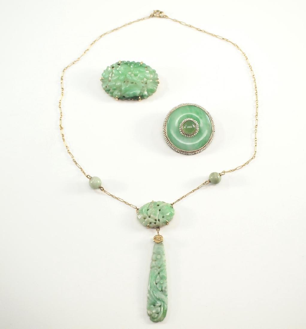 3 Early 20th c. Jade Jewels