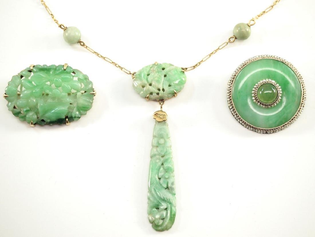 3 Early 20th c. Jade Jewels - 2