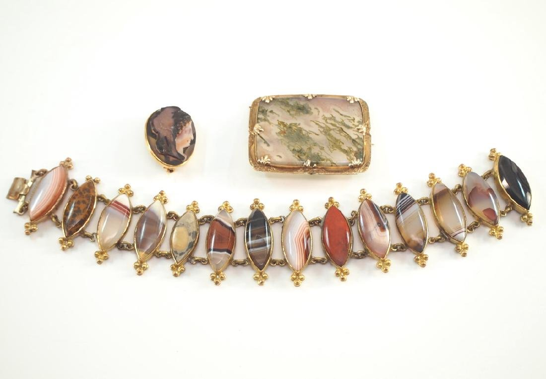 3 Late 19th C. Hardstone Accessories