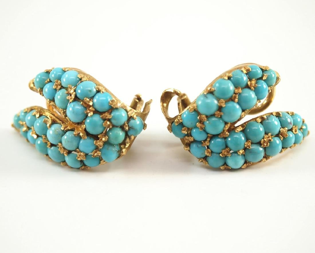 Pr. Of Italian 18 kt Yellow Gold & Turquoise Ear Clips