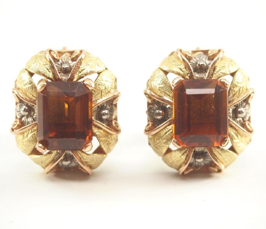 Pr. 14 kt Yellow Gold & Semi-Precious Stone Ear Clips