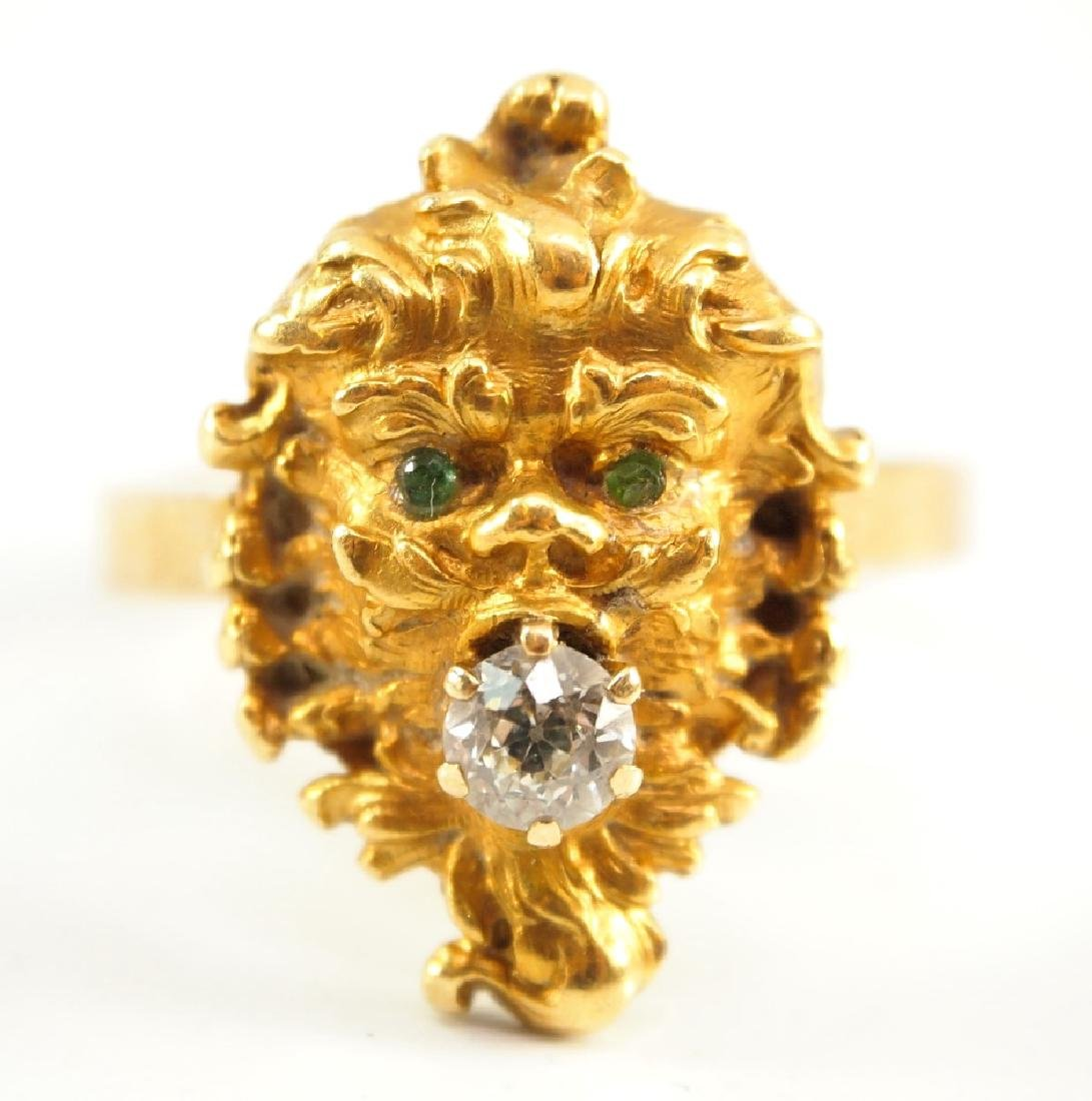 18 kt yellow gold, diamond, & Emerald Ring