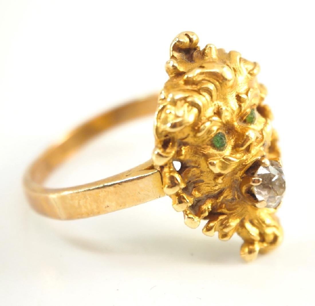 18 kt yellow gold, diamond, & Emerald Ring - 2