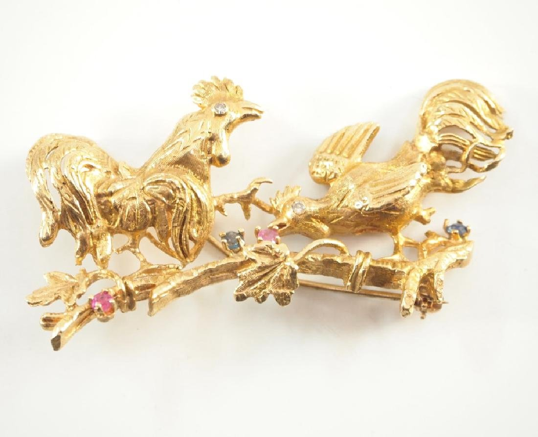 14 kt yellow gold & Precious Stone Brooch