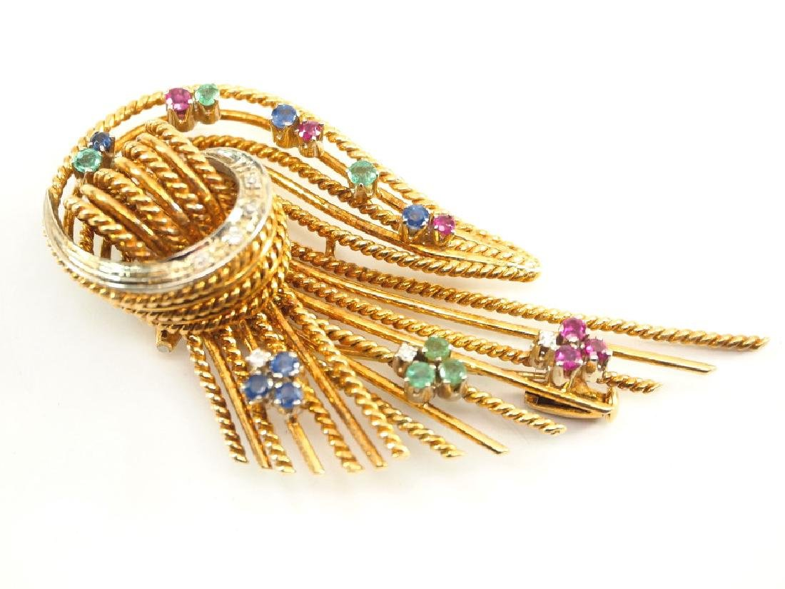 18 kt Yellow Gold & Precious Stone Brooch