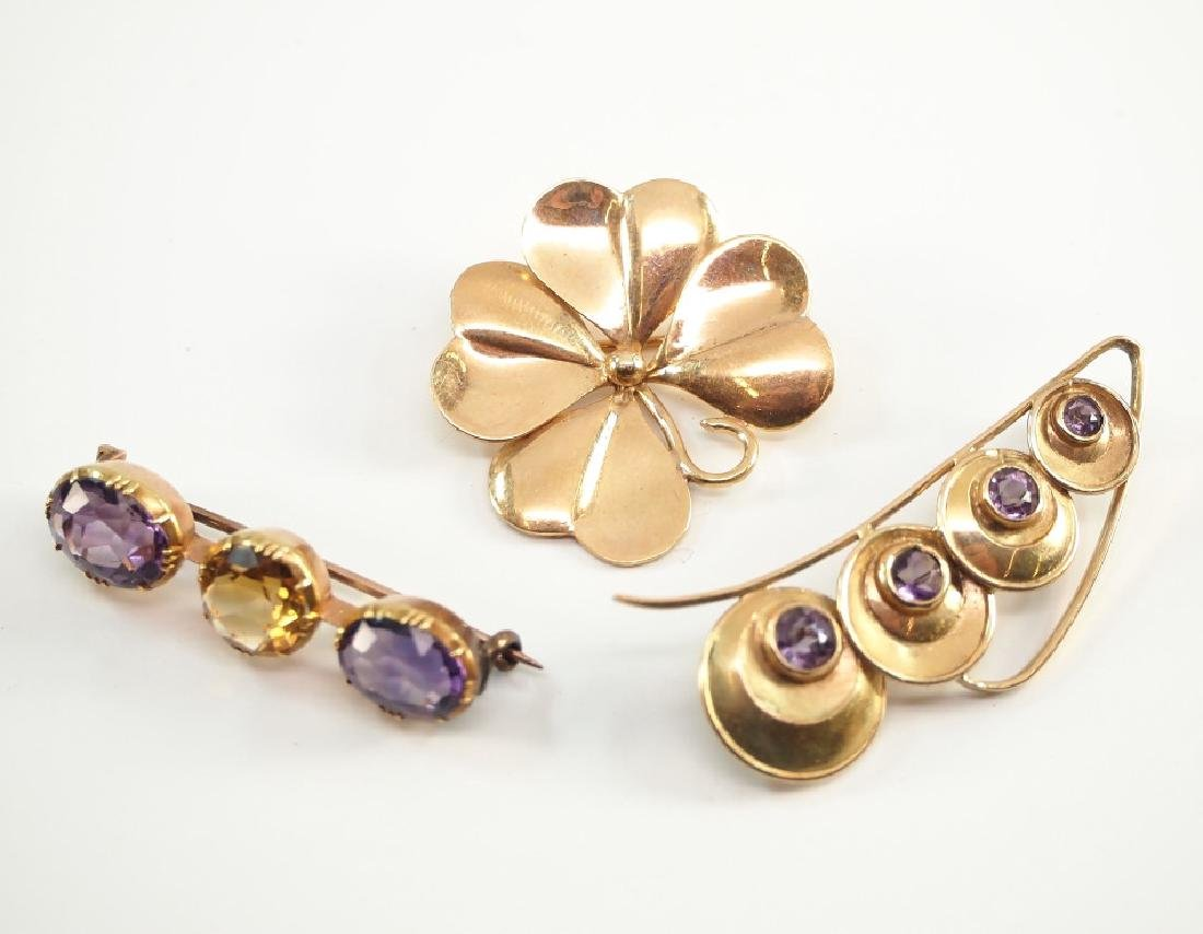 3 14 kt Gold, Amethyst & Topaz Brooches