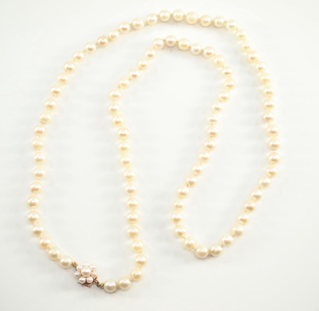 Pearl necklace with pearl clasp