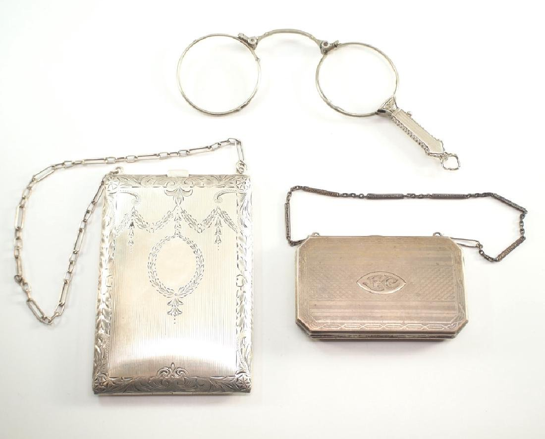 2 Early 20th c. American Sterling Purses & Lorgnettes