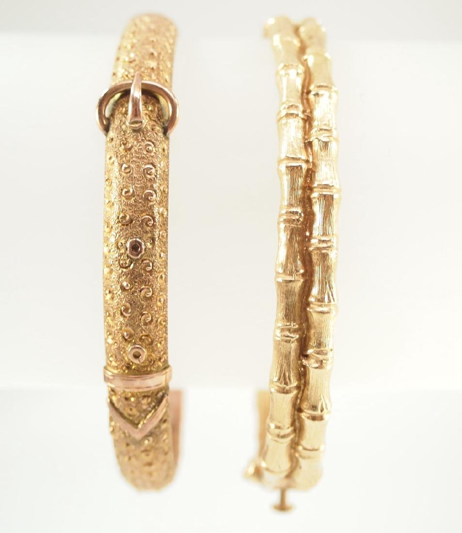 2 Yellow Gold Bangle Bracelets