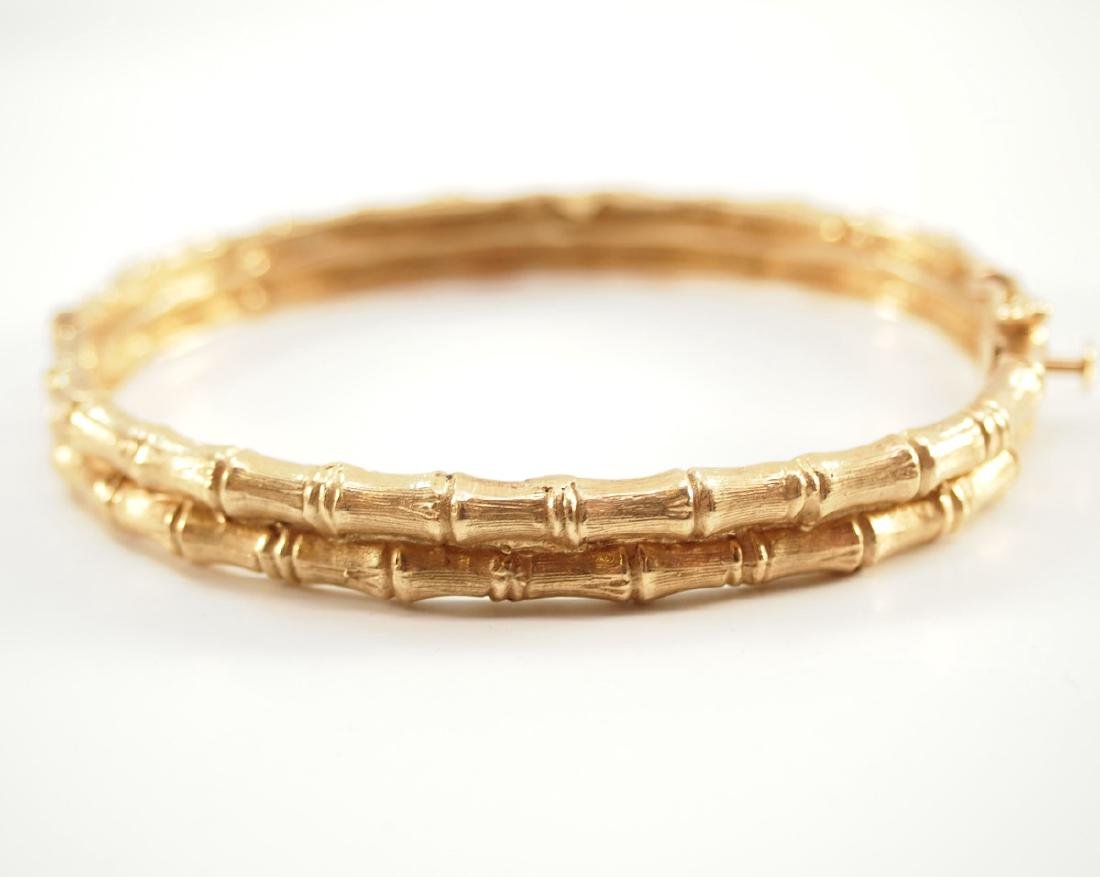 2 Yellow Gold Bangle Bracelets - 3