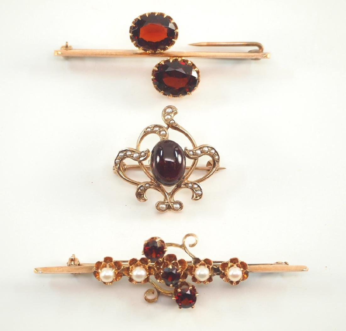 3 Yellow Gold, Garnet, & Pearl Brooches