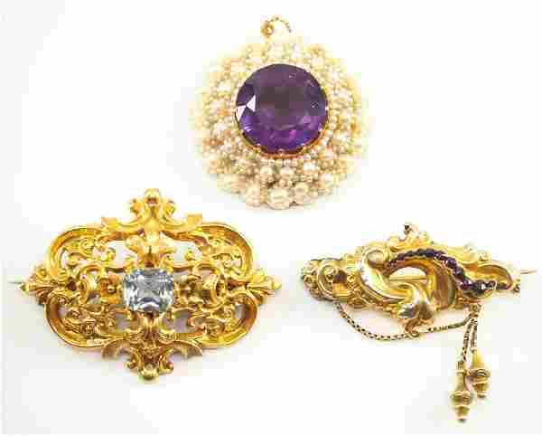 Victorian Seed Pearl Pendant & 2 Brooches