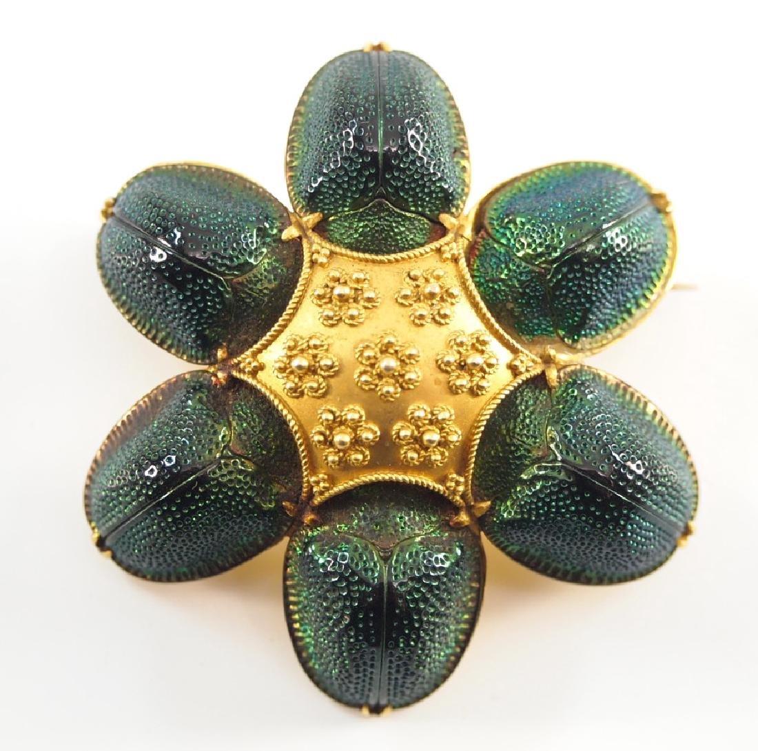 Victorian Yellow Gold Scarab Beetle Brooch