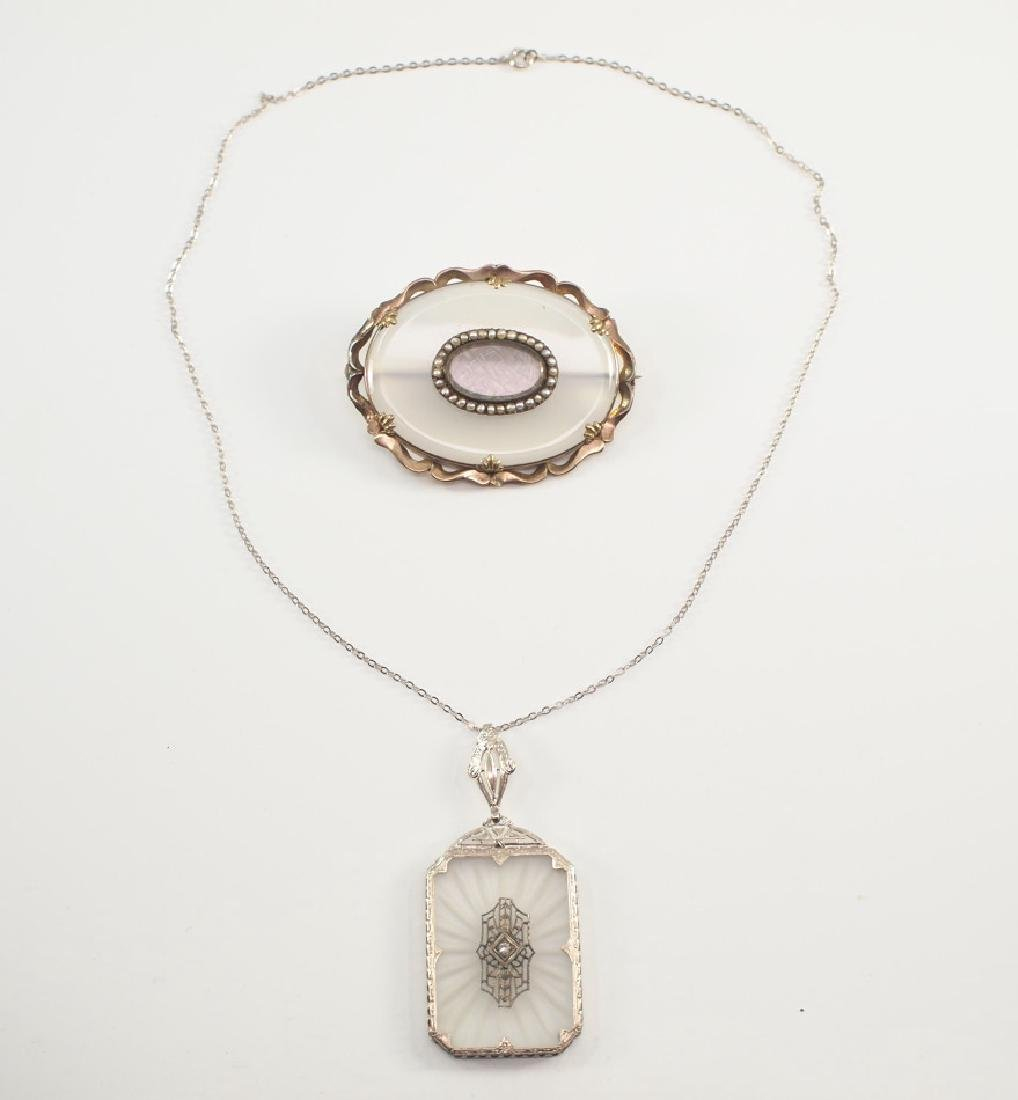 Rock Crystal & Diamond Pendant & Chalcedony brooch