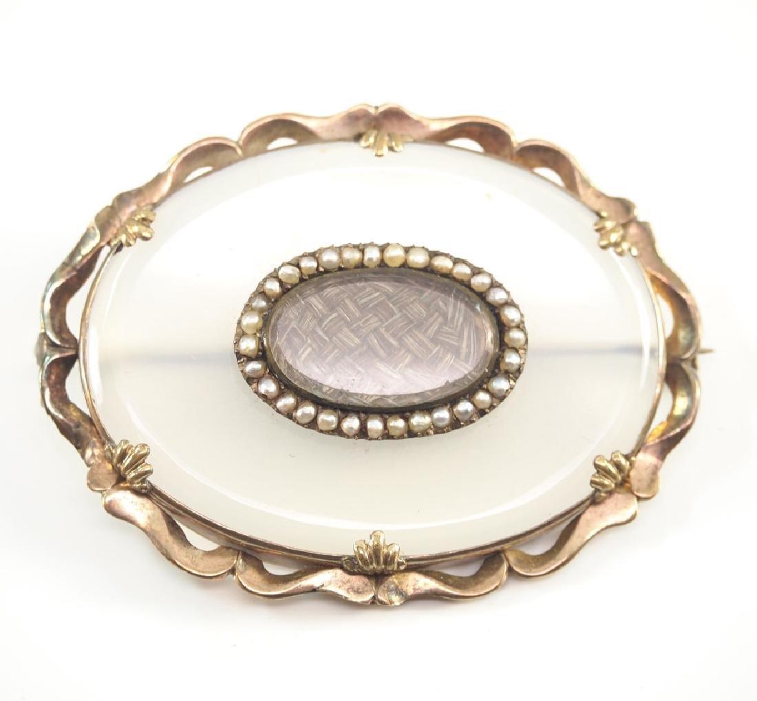 Rock Crystal & Diamond Pendant & Chalcedony brooch - 2