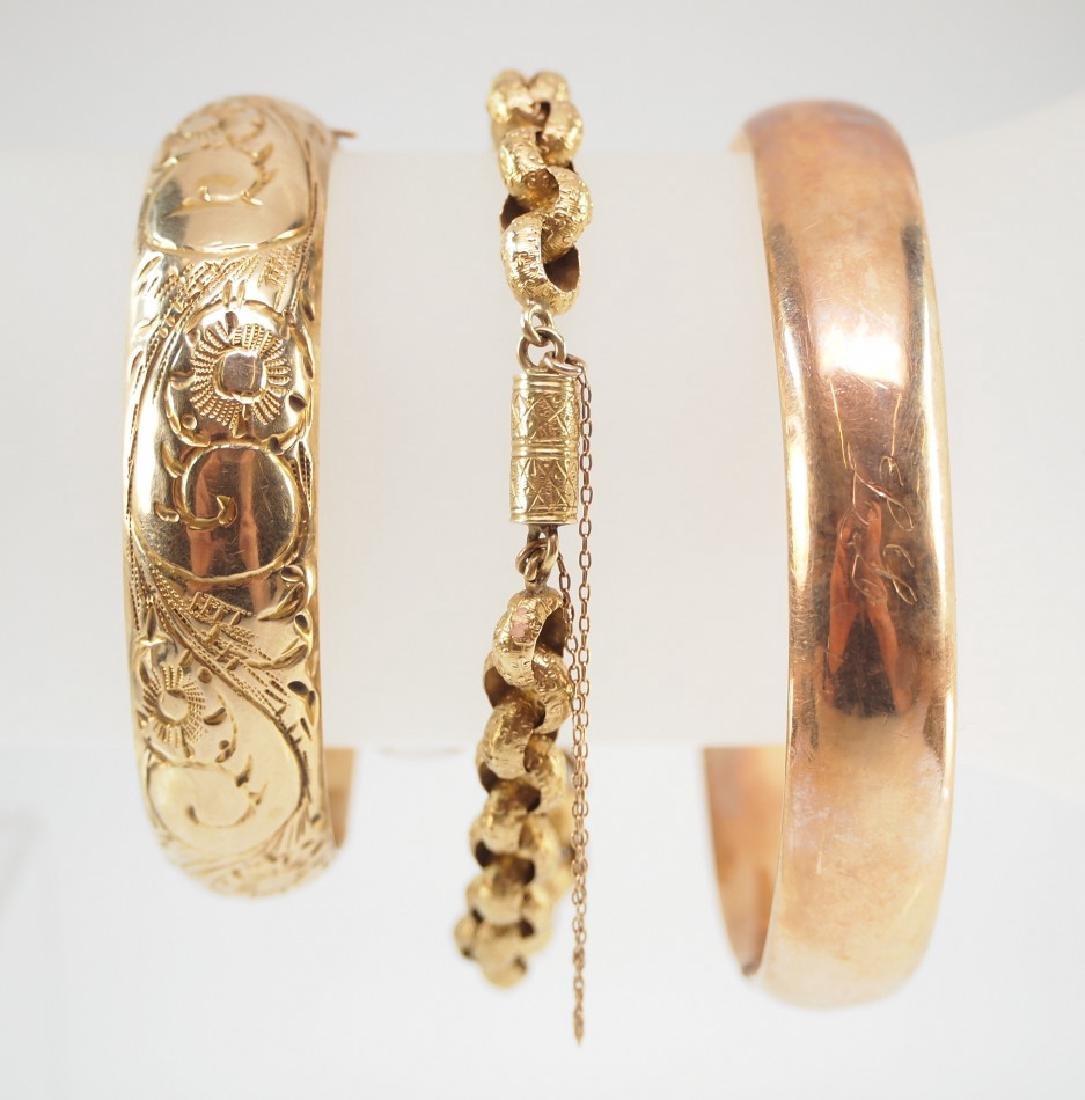 3 Victorian 14 kt Yellow Gold Bracelets