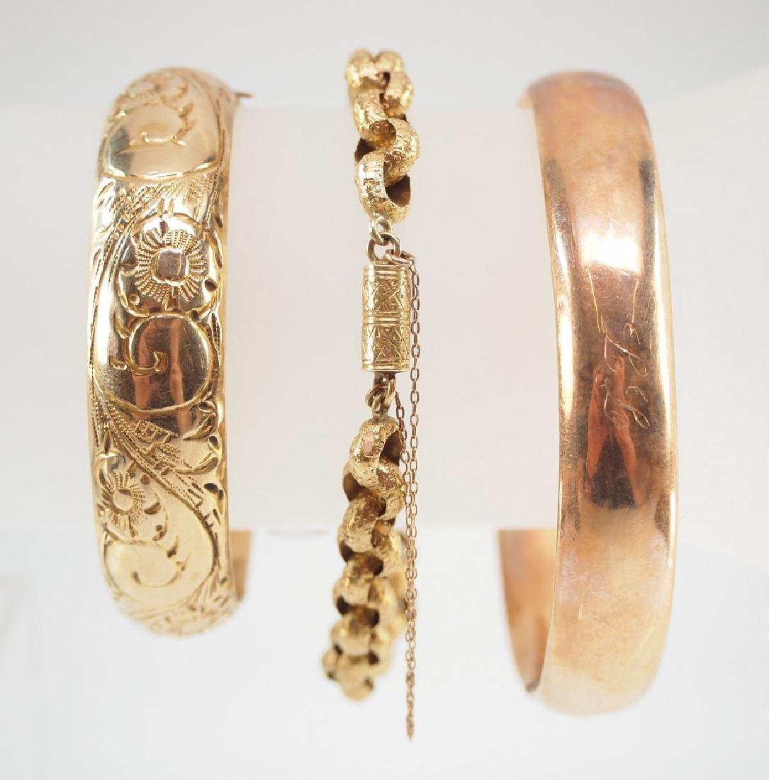 3 Victorian 14 kt Yellow Gold Bracelets