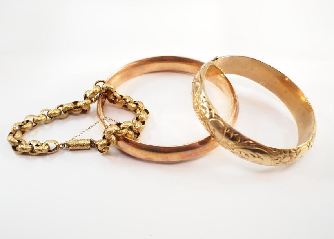 3 Victorian 14 kt Yellow Gold Bracelets - 2
