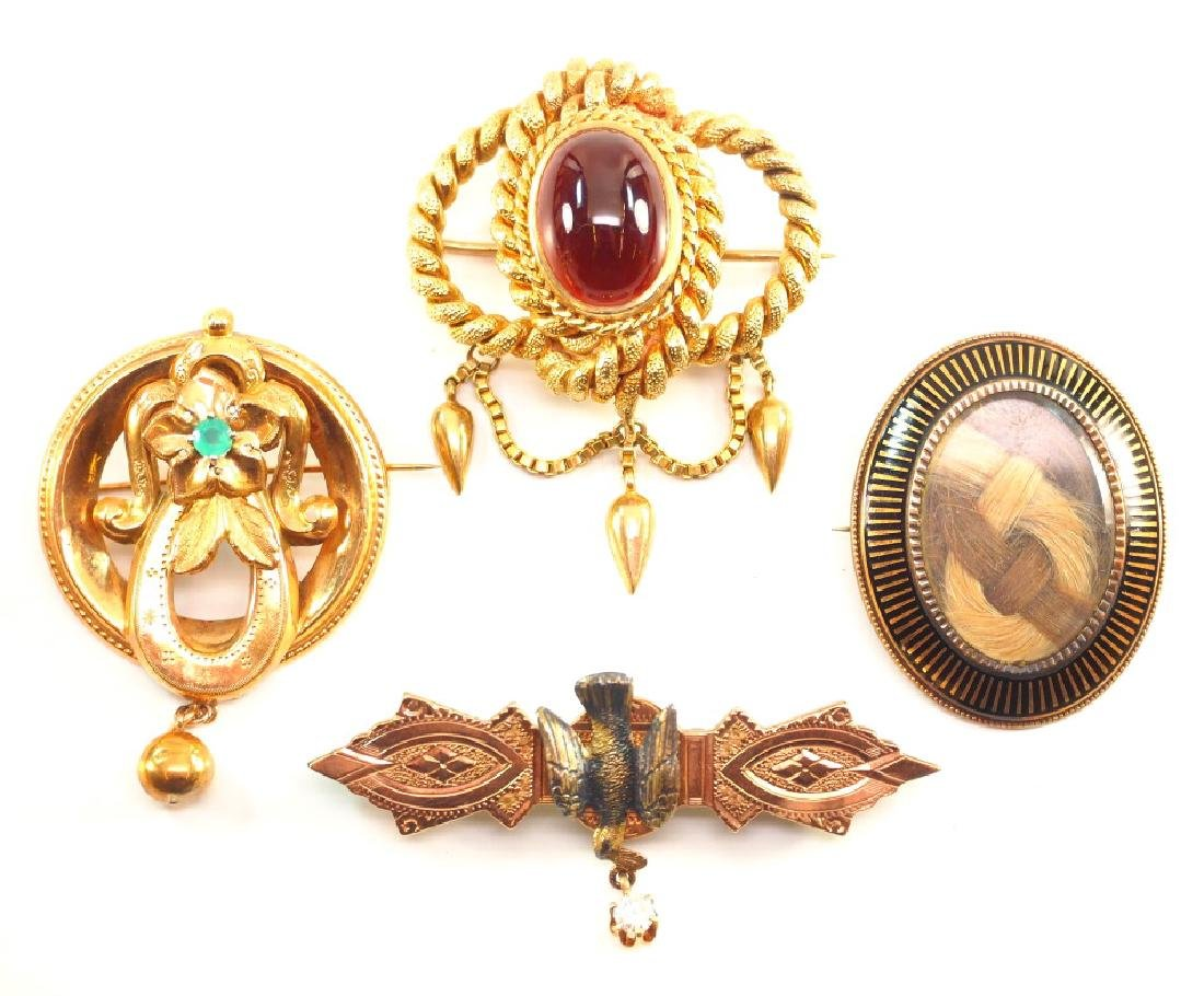 4 Victorian Brooches