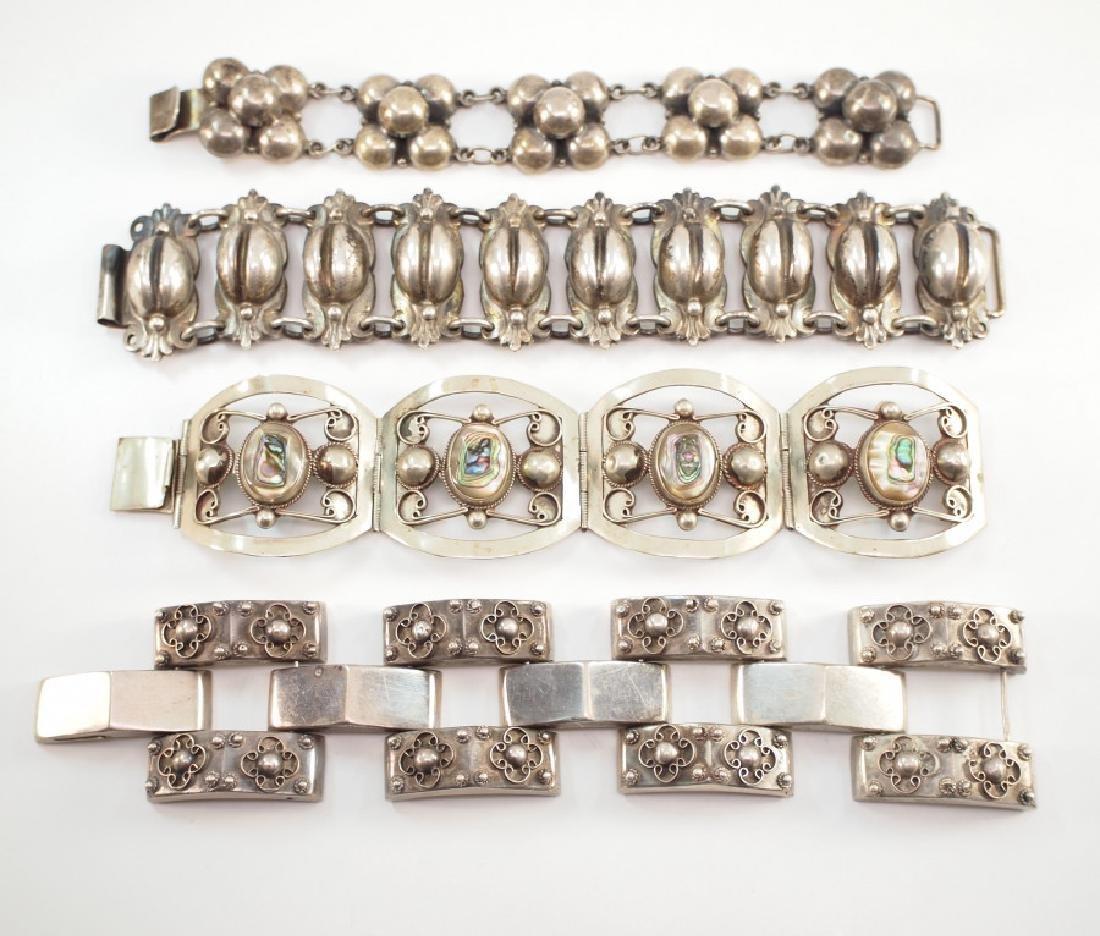 4 Mexican Silver Bracelets