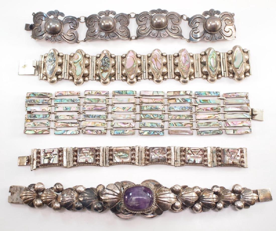 5 Mexican Silver Bracelets
