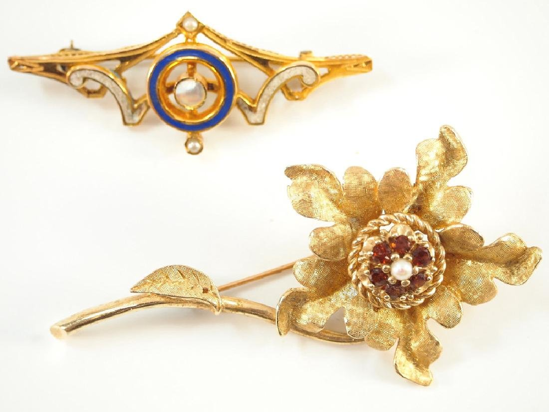 2 12 kt Gold Brooches