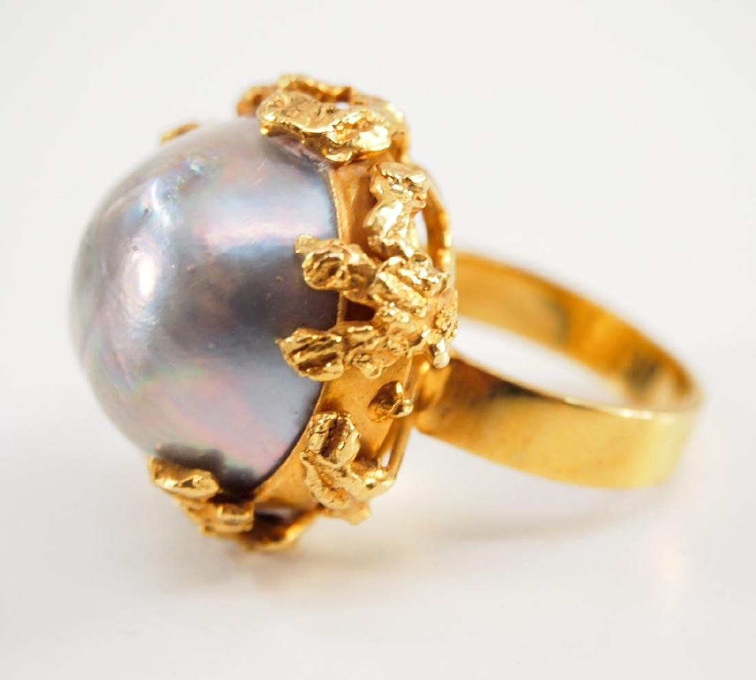 18 kt Gold & Mabe Pearl Ring - 2