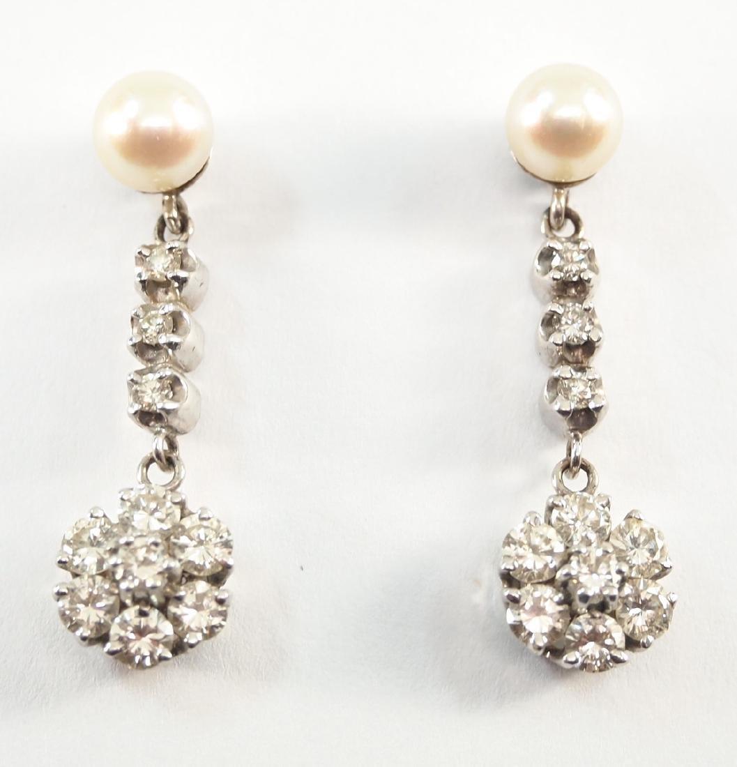 Pr. 14 kt white gold, Diamond, & Pearl Earrings
