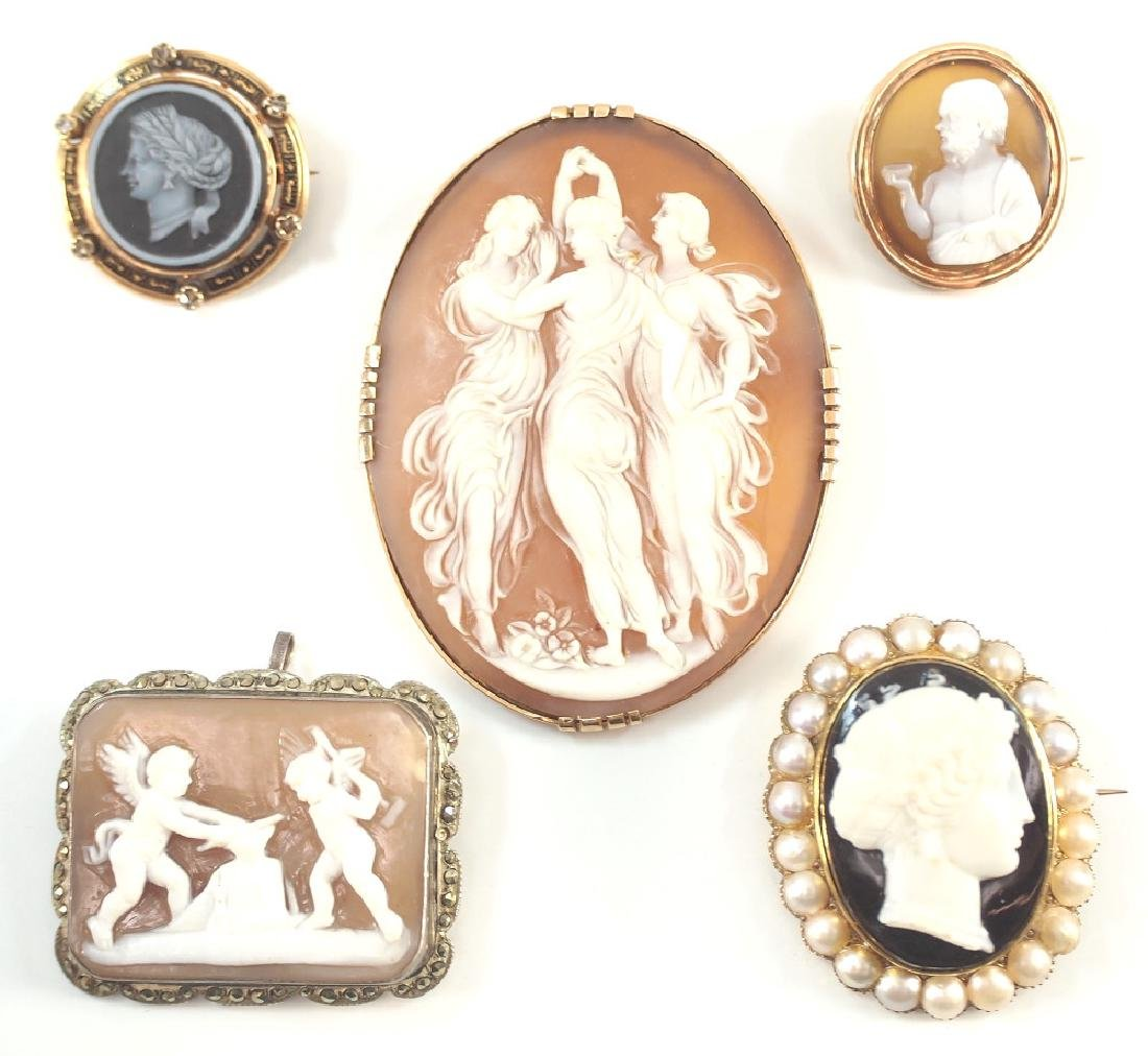 5 Cameo Brooches
