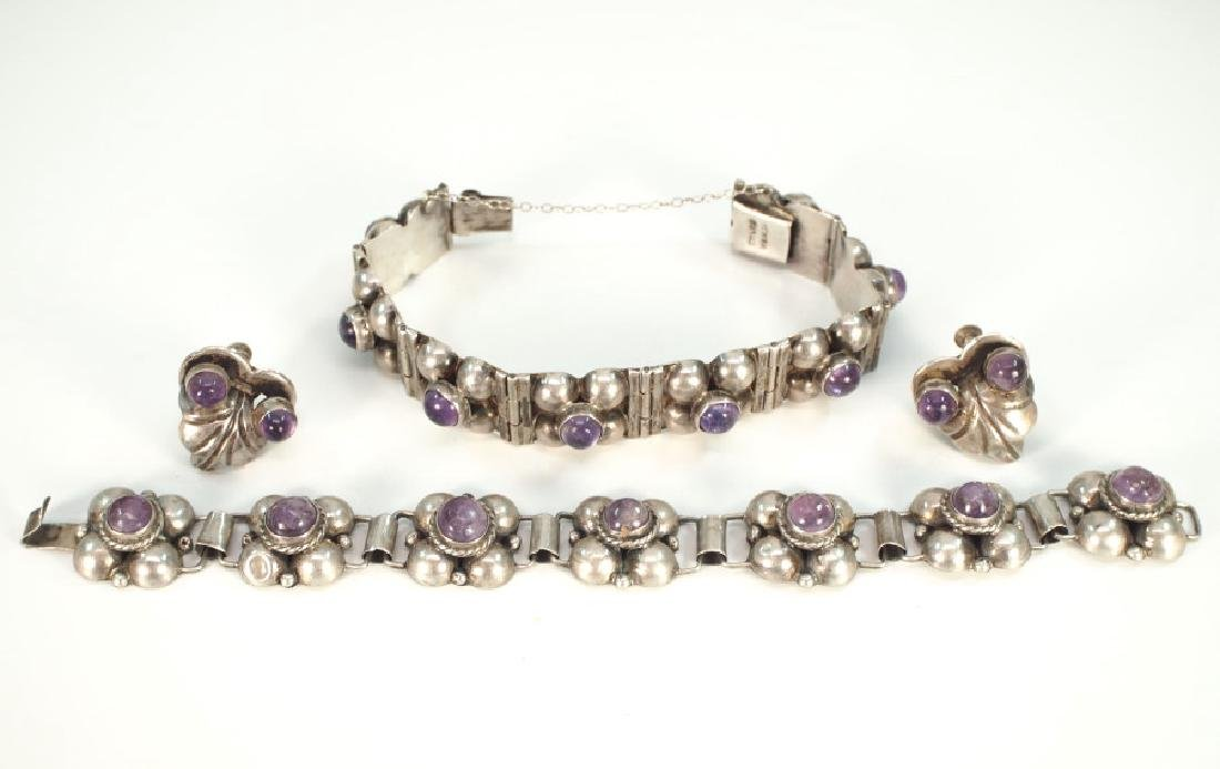 4 pcs of Mexican Silver & Amethyst jewelry