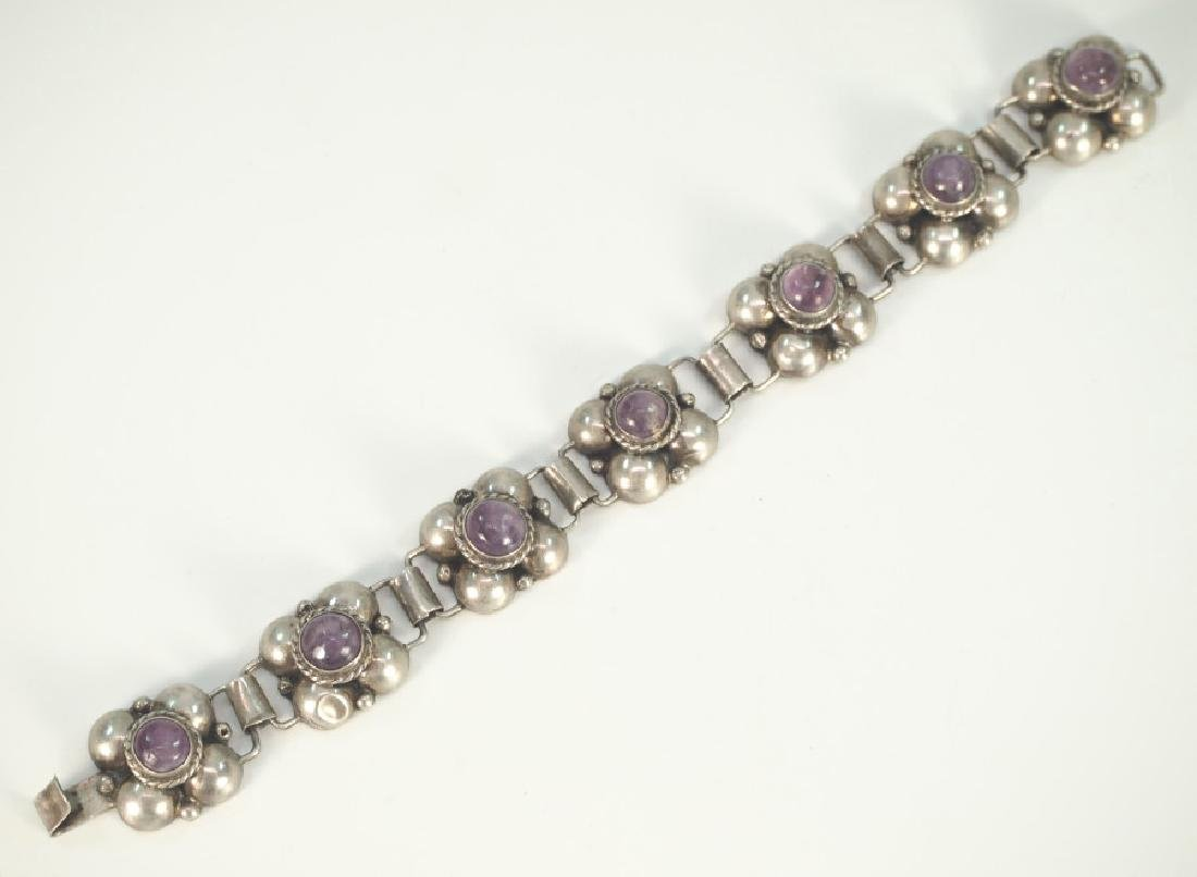 4 pcs of Mexican Silver & Amethyst jewelry - 2