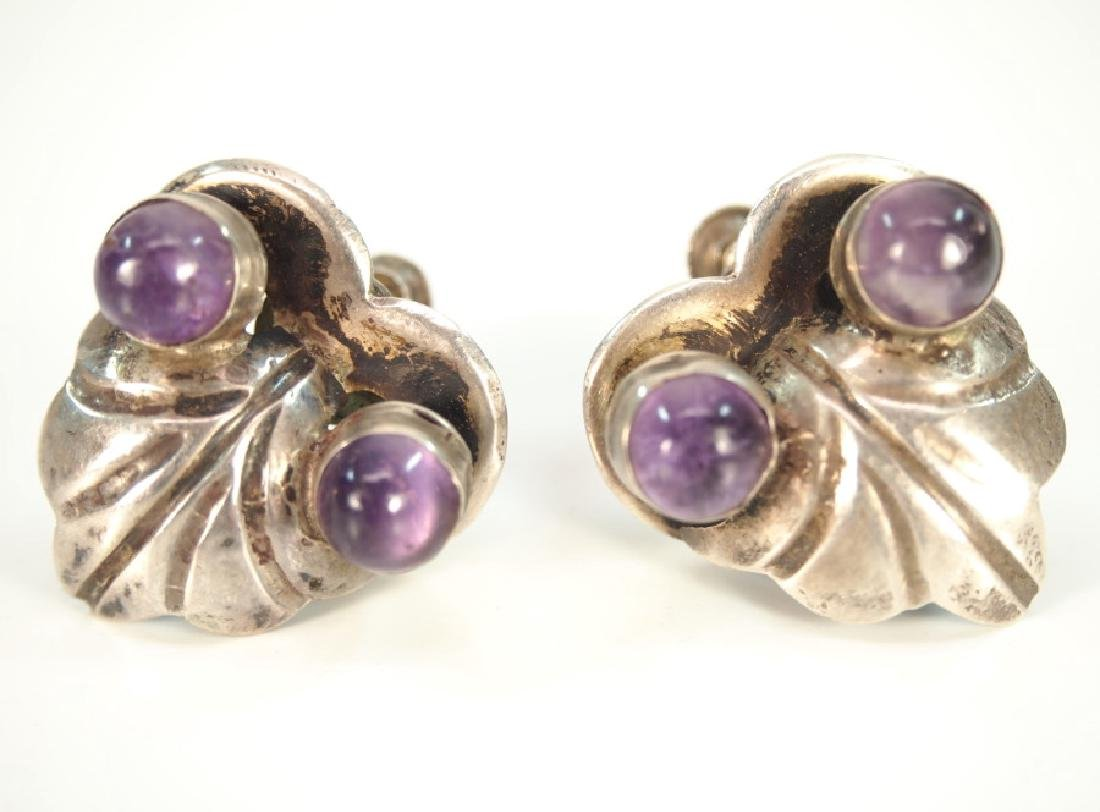 4 pcs of Mexican Silver & Amethyst jewelry - 3