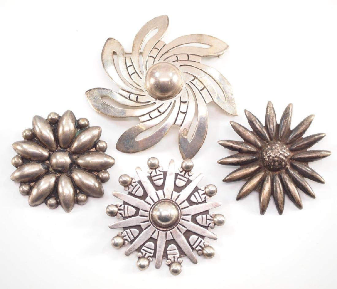 4 Mexican Silver Brooches