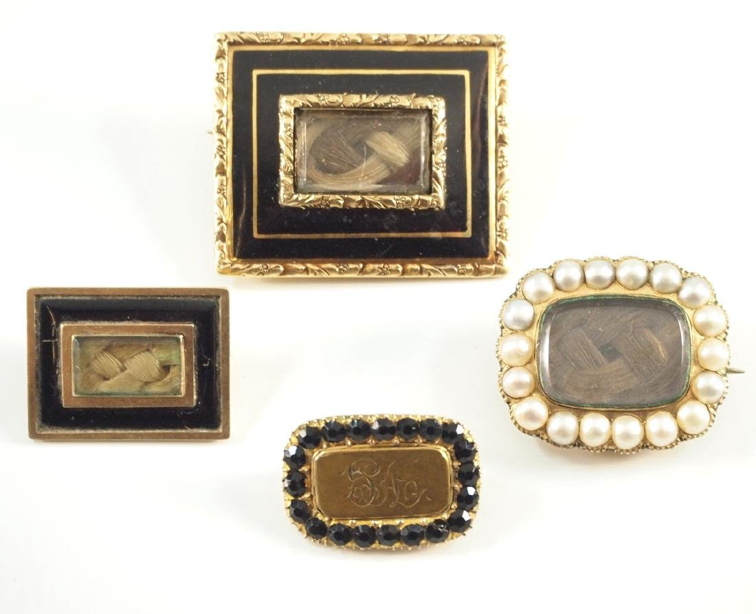 4 Victorian Mourning Brooches