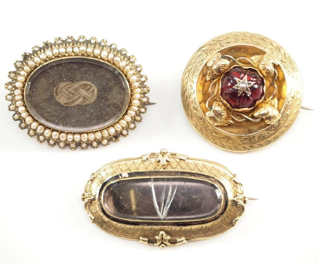 3 Victorian Mourning Brooches