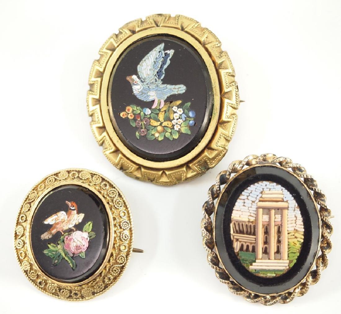 3 Italian Micro mosaic Brooches