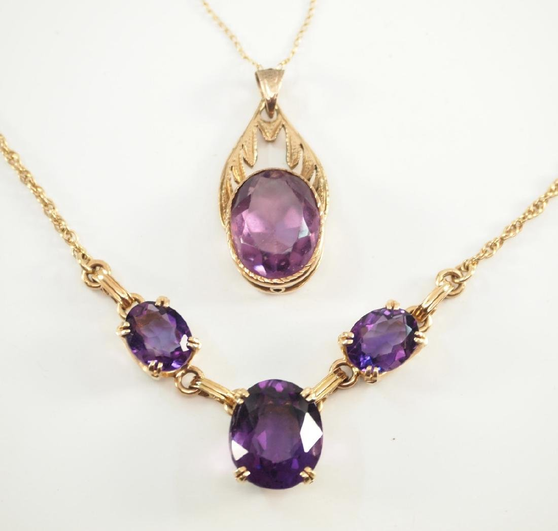2 14 kt yellow gold & amethyst necklaces